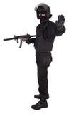 La policía antidisturbios manda en uniforme del negro Foto de archivo libre de regalías