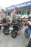 La policía arresta la motocicleta Foto de archivo libre de regalías