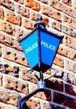 La policía azul de la lámpara firma Foto de archivo libre de regalías
