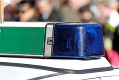 La policía azul se enciende Foto de archivo libre de regalías