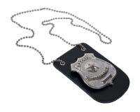 La policía Badge en el sostenedor de cuero Foto de archivo