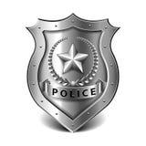 La policía badge en el vector blanco Foto de archivo libre de regalías