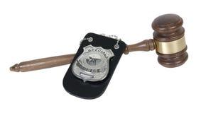 La policía Badge y mazo Foto de archivo