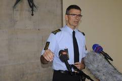 LA POLICÍA DE COPENHAGN LLEVA A CABO RUEDA DE PRENSA COMÚN Foto de archivo libre de regalías