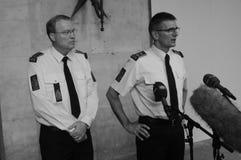LA POLICÍA DE COPENHAGN LLEVA A CABO RUEDA DE PRENSA COMÚN Fotos de archivo libres de regalías