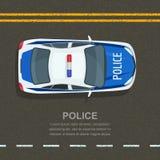 La policía del camino patrulla, ejemplo Coche policía en la carretera de asfalto, visión superior Tráfico y transporte de la call Foto de archivo libre de regalías