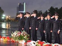 La policía durante el ` patriótico totalmente ruso de la acción era mañana el ` de la guerra en la colina de Poklonnaya Fotografía de archivo