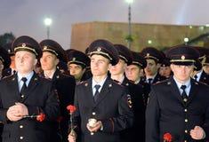 La policía durante el ` patriótico totalmente ruso de la acción era mañana el ` de la guerra en la colina de Poklonnaya Fotografía de archivo libre de regalías