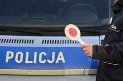 La policía polaca firma Fotos de archivo