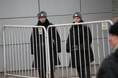La policía rusa en invierno uniforma Fotos de archivo libres de regalías