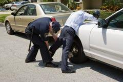La policía acaricia abajo Foto de archivo libre de regalías