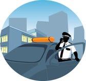La police équipe parler par la radio Images libres de droits