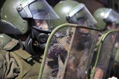 La police anti-émeute au Chili Images libres de droits