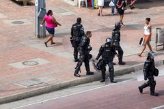 La police anti-émeute colombienne Photo stock