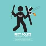La police anti-émeute tenant un bouclier Photo libre de droits