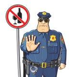 La police avertie - ne peut pas boire l'alcool illustration stock