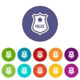 La police badge les icônes réglées Photographie stock libre de droits