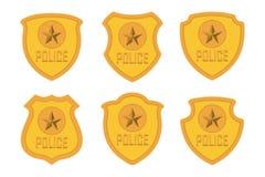 La police d'or Badge l'ensemble d'isolement sur le fond blanc illustration stock