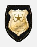 La police d'or de vecteur réaliste Badge placé sur Backgroun en cuir illustration de vecteur
