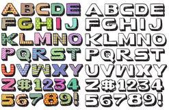 La police de griffonnage colore 3D Image libre de droits