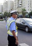 La police de la circulation commandent le véhicule Photographie stock libre de droits
