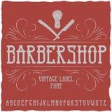 La police de label de Barber Shop et le label témoin conçoivent avec la décoration et le ruban Photos libres de droits