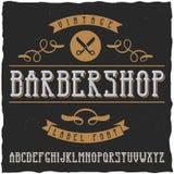 La police de label de Barber Shop et le label témoin conçoivent avec la décoration et le ruban Photo stock