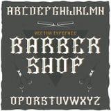 La police de label de Barber Shop et le label témoin conçoivent avec la décoration et le ruban Photos stock