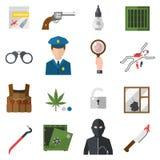 La police de sécurité de signe de justice de loi de protection d'icônes de crime lance l'icône dans le vecteur plat de couleurs Image libre de droits