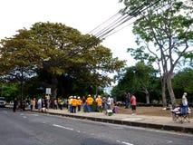 La police de Thomas Square HPD pille sur le campement deOccupy de Honolulu Photographie stock