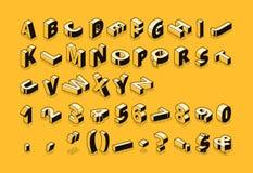 La police isométrique marque avec des lettres l'illustration tramée de vecteur illustration de vecteur