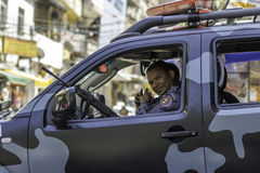 La police militaire de Rio de Janeiro patrouille les rues de Rio de Janeiro Photo libre de droits