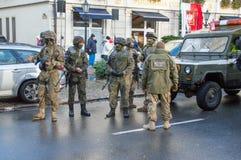 La police militaire polonaise groupe célébrer le Jour de la Déclaration d'Indépendance national à Danzig en Pologne Célèbre le qu Photographie stock libre de droits
