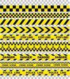 La police noire et jaune barre la frontière, construction, caut de danger illustration stock