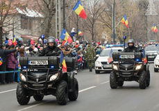 La police patrouille sur ATVs Photographie stock libre de droits