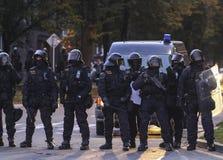 La police s'ameute sur la démonstration Images libres de droits