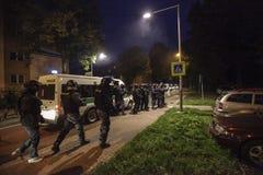 La police s'ameute sur la démonstration Photo libre de droits