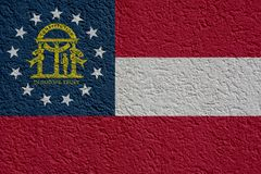 La politique d'état d'USA ou concept d'affaires : Georgia Flag Wall With Plaster, texture illustration de vecteur