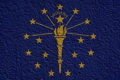 La politique d'état d'USA ou concept d'affaires : Indiana Flag Wall With Plaster, texture illustration de vecteur