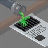 La politique 3d sale isométrique plate équipe le tuyau liquide illustration stock