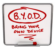 La politique de l'entreprise de table des messages de BYOD apportent votre propre dispositif Photos libres de droits