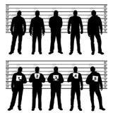 La polizia allinea le siluette Fotografie Stock