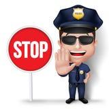 la polizia amichevole realistica 3D equipaggia il poliziotto del carattere Fotografie Stock Libere da Diritti
