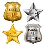 La polizia badge l'insieme Fotografie Stock Libere da Diritti