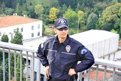 La polizia equipaggia il ritratto Fotografia Stock