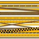 La polizia nera e gialla barra il confine, la costruzione, insieme senza cuciture di vettore dei nastri di cautela del pericolo royalty illustrazione gratis