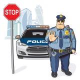 La polizia sorveglia, il fanale di arresto Fotografia Stock