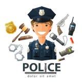 La polizia vector il modello di progettazione di logo poliziotto, poliziotto Fotografia Stock Libera da Diritti