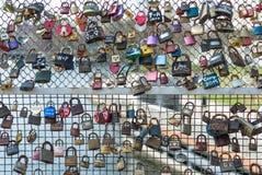 La Pologne, Bydgoszcz en avril 2018 Beaucoup de cadenas accrochants sur le pont Amour de concept pour toujours - Valentine Photo stock