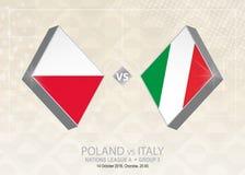 La Pologne contre l'Italie, ligue A, groupe 3 Concurrence du football de l'Europe illustration stock